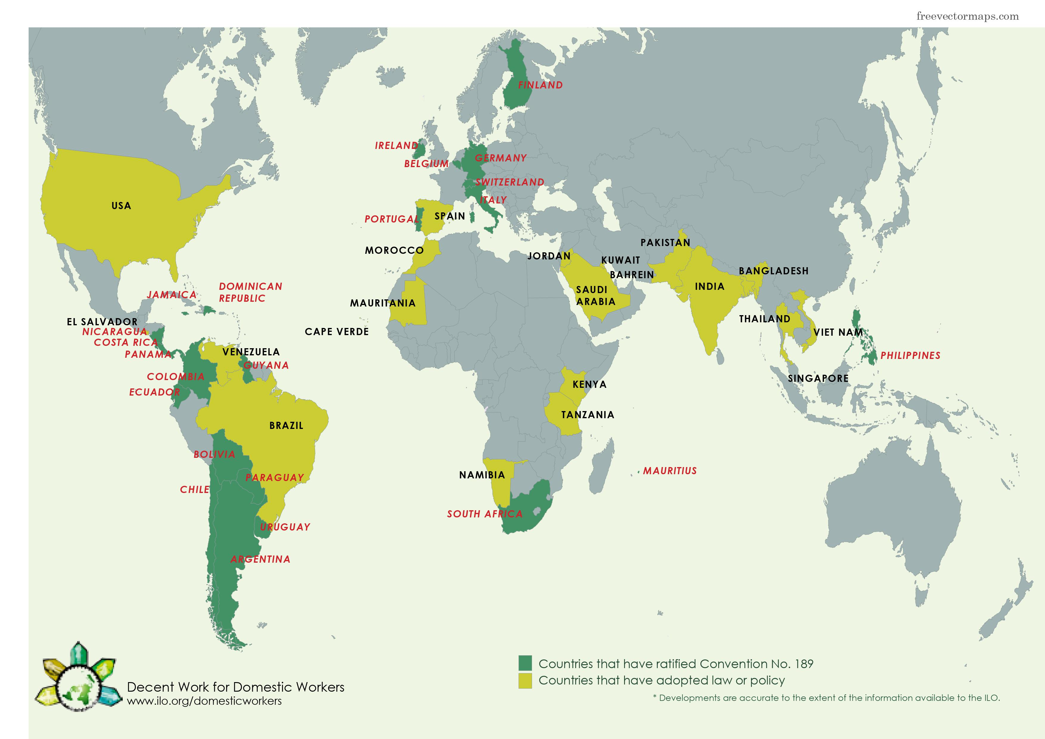 A map of the countries who have ratified ILO convention 189 and those who have turned it into policy